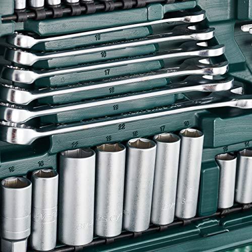 Mannesmann M98430 Maletin Con Llaves De Vaso Y Otras Herramientas 215 Piezas Tamano 12x36x51 Cm