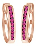 Round Shaped Simulated Pink Sapphire Hoop Earrings In 10k Solid Rose Gold