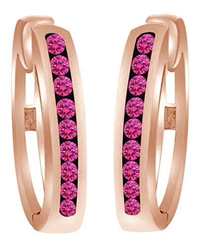 Round Shaped Simulated Pink Sapphire Hoop Earrings In 10k Solid Rose Gold by AFFY