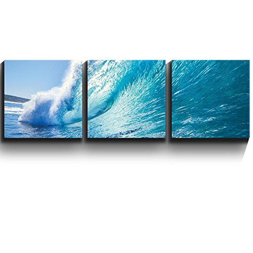 3 Square Panels Contemporary Art Ocean wave Surf barrel Three Gallery ped Printed Piece x3 Panels