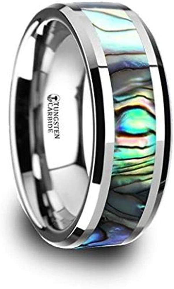 MAUI Rings Tungsten Carbide Al sold out. with Mother of Bombing new work Wide Pearl 8mm Inlay