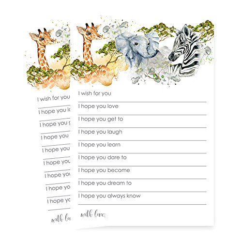 Jungle Animal Wishes for Baby Game Card Set of 25 from Paper Clever Party