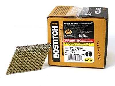 BOSTITCH S10DRGAL-FH 28 Degree 3-Inch by .120-Inch Wire Weld Galvanized Ringshank Framing Nails (2,000 per Box) by Bostitch