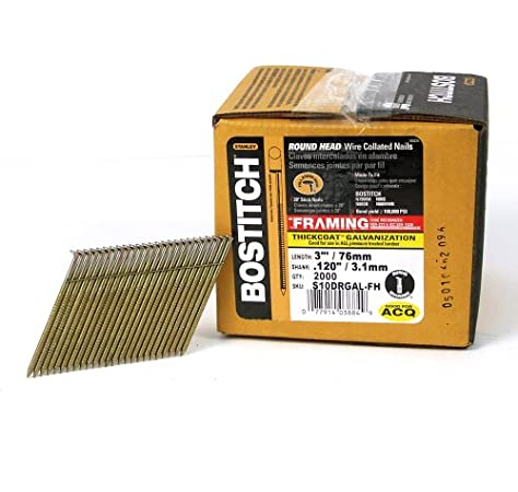 2,000 BOSTITCH S10D-FH 28 Degree 3-Inch by .120-Inch Wire Weld Framing Nails
