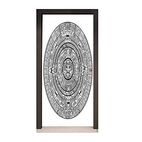 Homesonne Mesoamerican Decor 3D Door Sticker Maya Calendar Illustration Accurate Antiquities Astrological Aztec Geometric Indigenous for Office ()