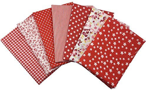 Quilting Fabric, Misscrafts 7pcs 50 x 50cm Cotton Blending Textile Craft Fabric Bundle Fat Quarter Patchwork Pre-Cut Quilt Squares for DIY Sewing Scrapbooking Dot Floral Pattern (Red)