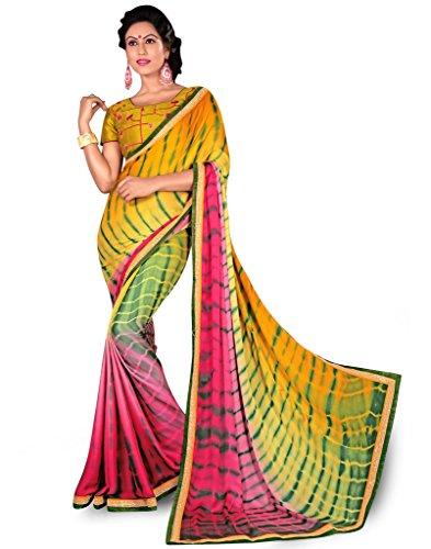 DesiButik's Graceful Multicolor Crepe Saree