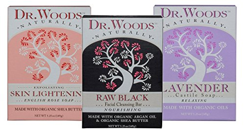 Dr. Woods Natural Castile Bar Soaps Variety 3 Pack - Black Exfoliating Facial Cleansing Bar, Rose Skin Lightening, Relaxing Lavender, All Made with Organic Shea Butter, 5.25 Ounce (1 of Each) ()