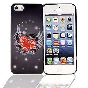 Mega - Funda protectora estilo flip- iphone 5/5s para hombre accesorio, color negro hecho de silicona