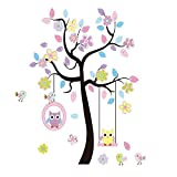 Charming Art Colorful Tree Decals with Hanging Owl, DIY Wall Decor, Pink Owl Wall Sticker, Owl Wallpaper for Kids Room, Reusable Stickers by LaceDecaL Picture