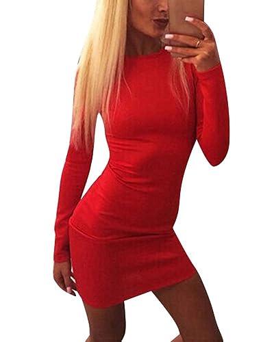 Donne Mini Abito Vestito Corto Slim Manica Lunga Senza Schienale Sexy Cocktail Sera Vestiti Rosso S