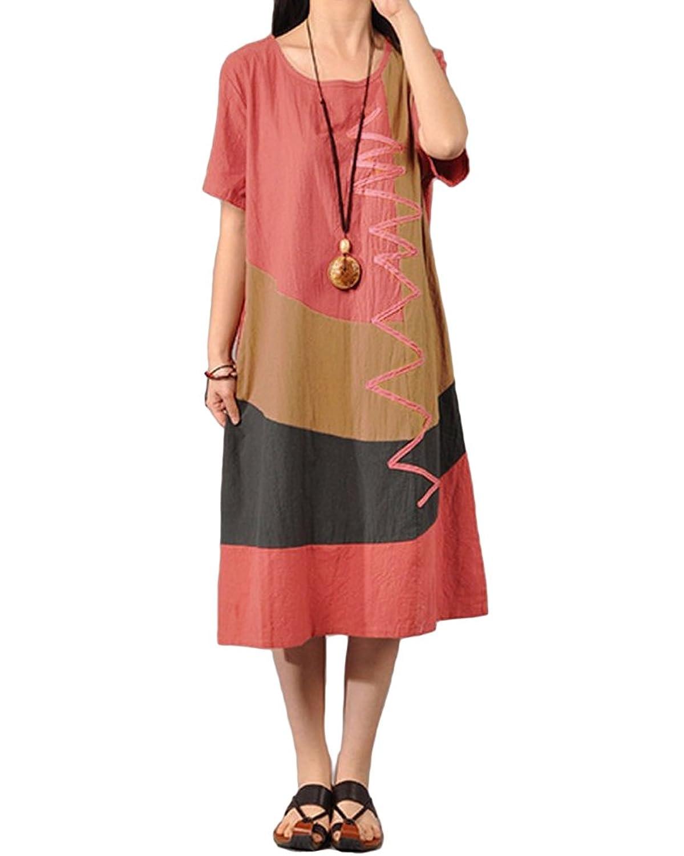 Romacci Women Baggy House Dress Plus Size Pockets O Neck ...