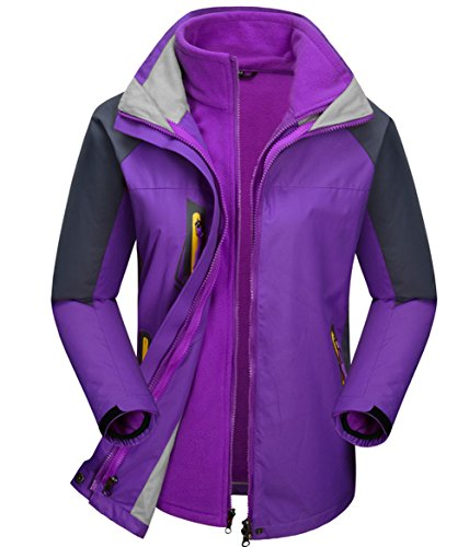 Women's 3-in-1 Ski Jacket - Winter Jacket Set with Fleece Liner Softshell Hiking Waterproof Rain Jackets (Purple, Medium)