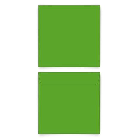80 x Briefumschläge Quadrat 155 x 155 mm mit Selbstklebestreifen ohne  Fenster - Grün