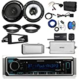 Kenwood KMMBT322U Single DIN Bluetooth Radio, 2x 6.5' Black Speakers, Adapters, 4-Ch. Amplifier, Amp Kit, Harley Wiring Kit, Weathershield, Dash Kit, Antenna, 16-G 50 Ft Wire (Select '98-'13 Harleys)