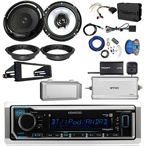 Black Single Amp (Kenwood KMMBT322U Single DIN Bluetooth Radio, 2x 6.5