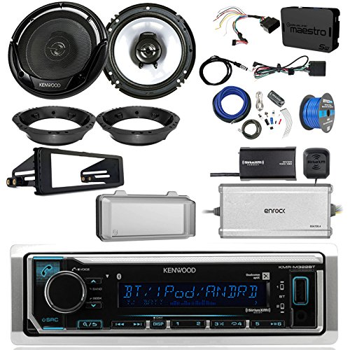 2 Ch 300w Amp (Kenwood KMMBT322U Single DIN Bluetooth Radio, 2x 6.5