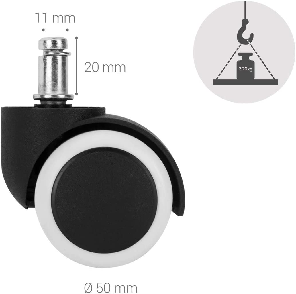 gummiert Ersatz B/ürostuhlrollen Set in Grau 360/° B/ürostuhl Rollen Ersatzrollen kwmobile 5x Hartbodenroller 10//50mm auch f/ür Weichboden