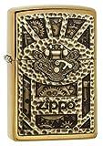(US) Zippo Gear Design Pocket Lighter, Brushed Brass