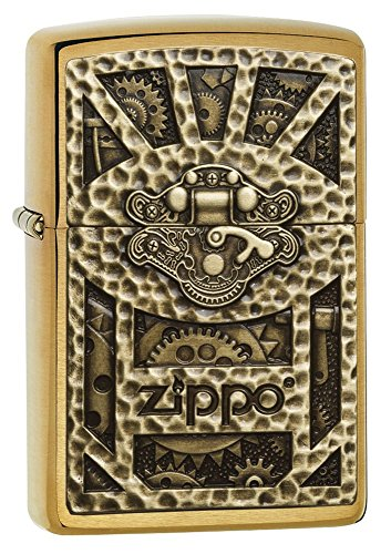 Zippo Gear Design Pocket Lighter, Brushed Brass by Zippo