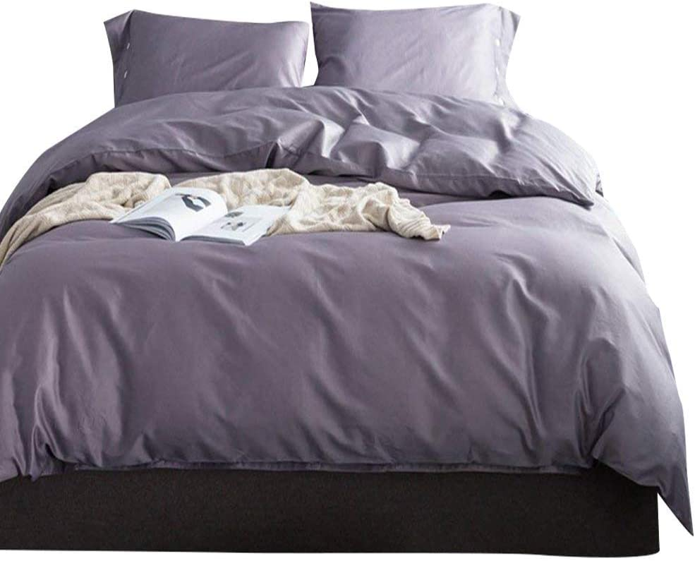 Solid Purple Grey Luxury Bedding Set Queen 3 Piece Soft Egyptian Cotton Duvet Comforter Cover Set Hotel Quality Solid Bedding Collection 1 Duvet Cover with 2 Pillowcases Full Queen