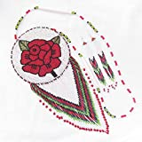 Handmade Red White Beaded Rose crafted Bead work Necklace Earrings Ethnic Jewelry Medallion Set