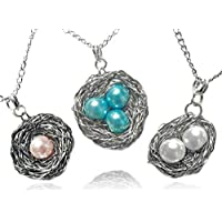 Bird Nest Pendant Necklace Wire Wrapped Silver with Pearl Eggs - Custom Made Unique Handcrafted Gift