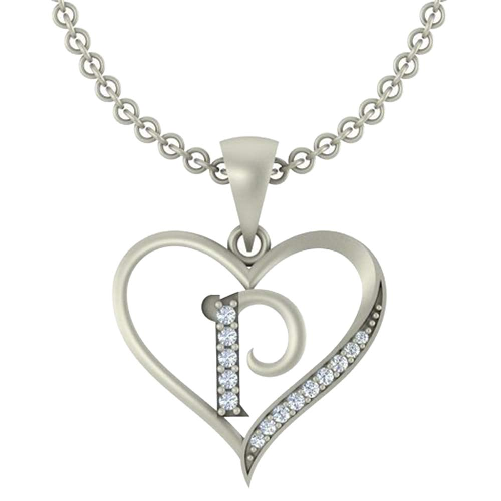 0.10 Ct Round Cut Simulated Diamond LetterP In Heart Pendant With 18 Chain 14K White Gold Plated