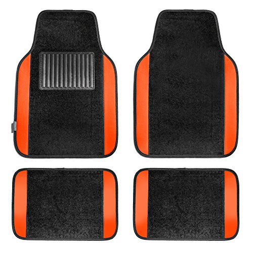 (FH Group F14407ORANGE Premium Full Set Carpet Floor Mat (Sedan and SUV with Driver Heel Pad)