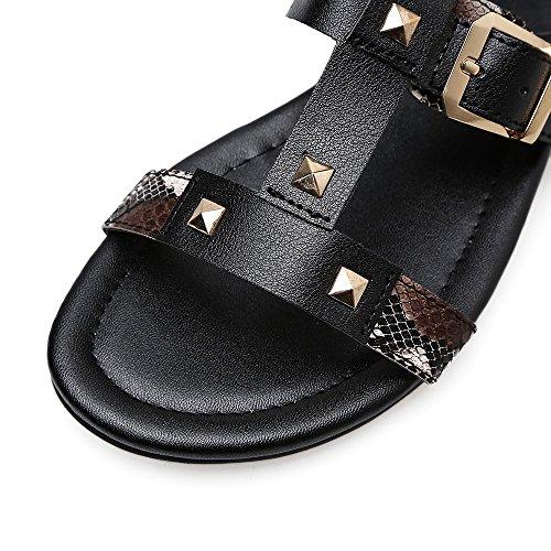 ocio Roma sandalias black remaches de RUGAI fondo huecos sandalias UE alta plano tubo Señoras ZOXSnX8