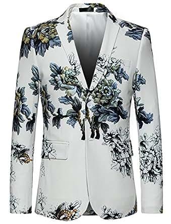 Amazon.com: Mogu para hombre Slim Fit floral blanco Blazer ...