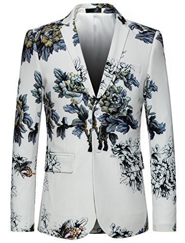 MOGU Mens Slim Fit Floral White Blazer US Size 40 (Asian Lable 4XL) -