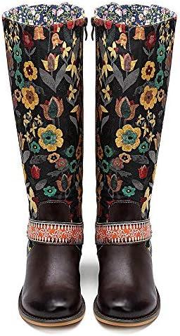AHMI - Botas Altas de Piel para Mujer, Estilo Bohemio, Vintage, con Estampado de Flores: Amazon.es: Zapatos y complementos