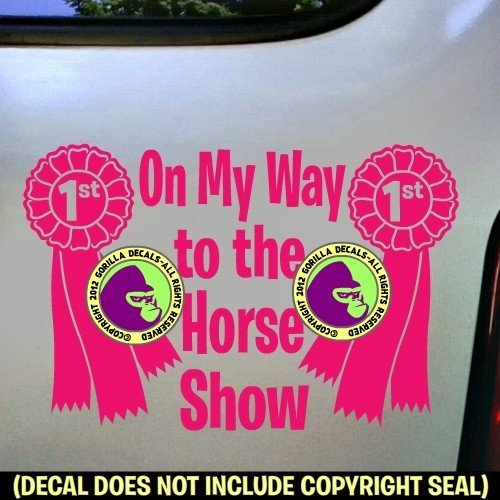 Rider Vinyl Decal Sticker E ON MY WAY TO THE HORSE SHOW 1st Place Ribbon