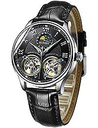 Men's Luxury Automatic Mechanical Wrist Watch with Double Tourbillon Leather (Black)