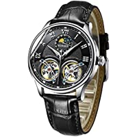 Men's Luxury Automatic Mechanical Wrist Watch with Double Tourbillon Leather (Black)
