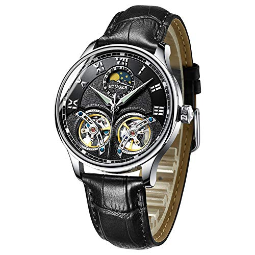 Men s Luxury Automatic Mechanical Wrist Watch with Double Tourbillon  Leather (Black) 9beadede128a