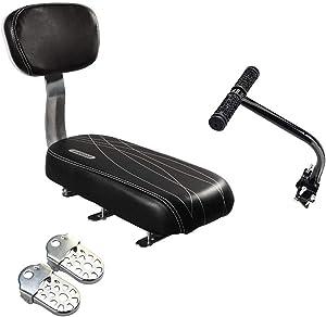 Samyoung Bicycle Rear Seat Cushion Armrest Footrest Set, Bike Back Seat Child Safety Cushion Armrest Handrail Rear Feet Pedals(Black)