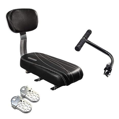 Bicycle Rear Seat Cushion Armrest Footrest Set Sanmersen Bike Back Seat Child Safety Cushion Armrest Handrail Rear Feet Pedals Black