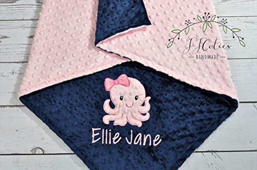 Personalized Octopus minky baby blanket, Choose your own minky color