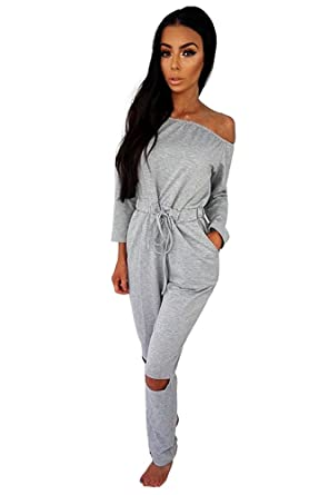082232ebfdf0 Miss Floral® Womens Off Shoulder Long Sleeve Jumpsuit 5 Colour Size 6-20:  Amazon.co.uk: Clothing