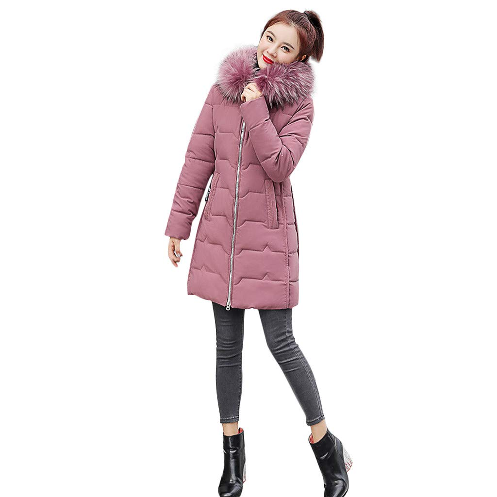 Fashionhe Women Down Jacket Fashion Outerwear Long Sleeve Hooded Jackets Cotton-Padded Print Coats(Pink.XXL) by Fashionhe