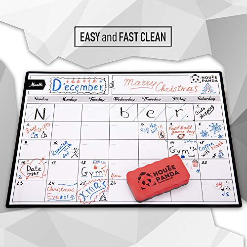 Magnetic Dry Erase Calendar for Refrigerator 2019 - Monthly Planner White Board for Family - 3 Fine Tip Markers & Large Eraser with Magnets - Organizer for Kitchen Fridge - Big Cute Magnet Whiteboard Photo #4