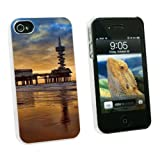 Graphics and More Scheveningen Pier - Beach Ocean - Bungy Jumping - Snap On Hard Protective Case for Apple iPhone 4 4S - White - Carrying Case - Non-Retail Packaging - White