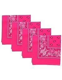 22 Inch Neon Paisley Bandana - Set of 4 - Neon Pink