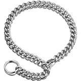 Jxlepe Womens Choker Chain Cuban Link Adjustable with O Ring Belt Tail 0.4inch Wide Punk Rock Stainless Steel Gift for her Sexy Pendant Xxxtentacion Necklace (White, 18)