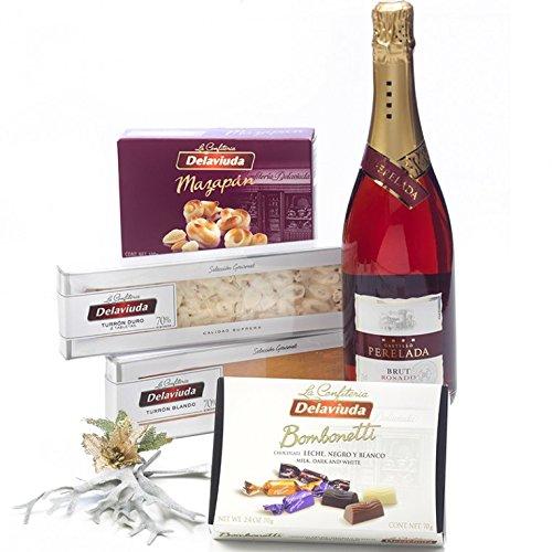 SADIVAL LOTES - Lote Gourmet De Navidad En Caja Con Cava Rosado Turrores Y Dulces.