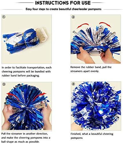 "PUZINE 2pack 12/"" Cheerleading Metallic Foil /& Plastic Ring Pom Poms Cheerlead..."