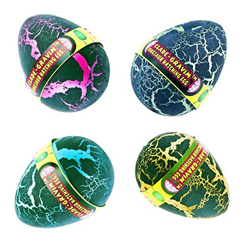 YKL WORLD Hatch Grow Dinosaur Eggs 4Pcs Large Size Colorful Crack Growing Hatching Dino Egg Dinosaurs Toys Easter Party Supplies Birthday Gifts Kids Boys -