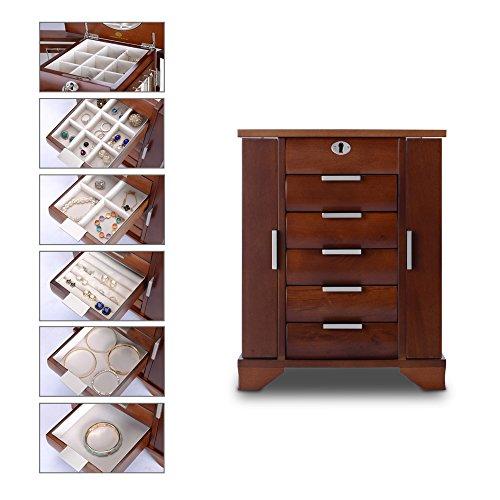 HERITAGE abschließbare handgefertigte Holz Schmuck Kiste mit Schlüssel, Wallnuss Schmuckschatulle Speicherorganisator -